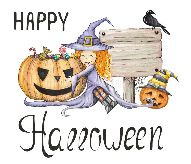 Watercolor illustration with the lovely little witch and pumpkin with candies vector illustration