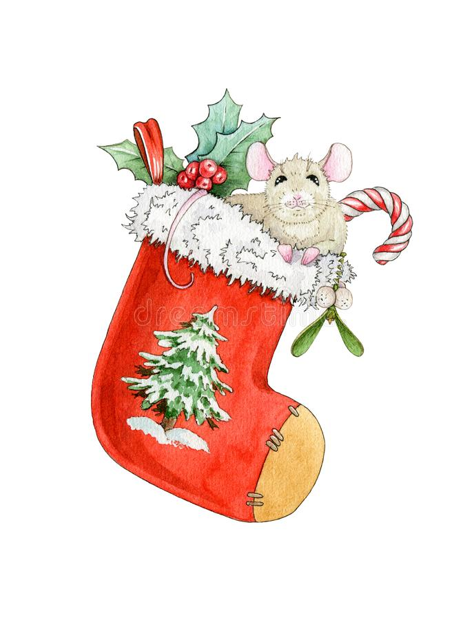 Watercolor illustration of a funny  mouse with gifts, sweets and mistle in a christmas sock. Chinese symbol of the 2020 year. vector illustration