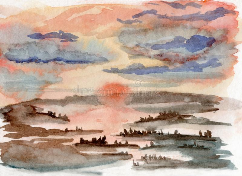 Watercolor illustration of a misty sunset in a forest with river reflection royalty free illustration