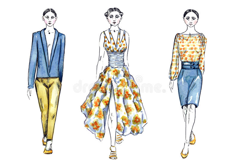 Watercolor Illustration Models in Fashion Show stock illustration