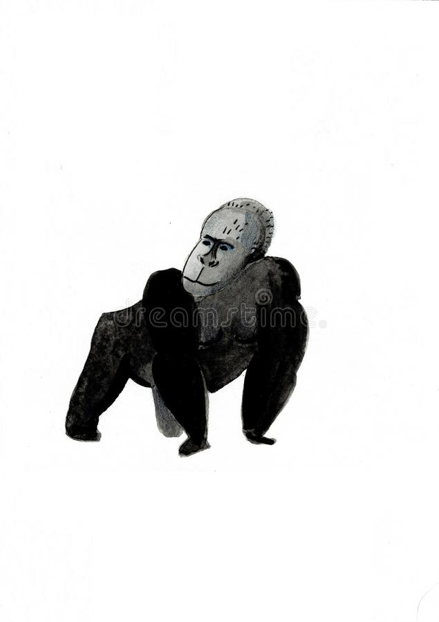 Watercolor illustration with a monkey Gorilla painting vector illustration