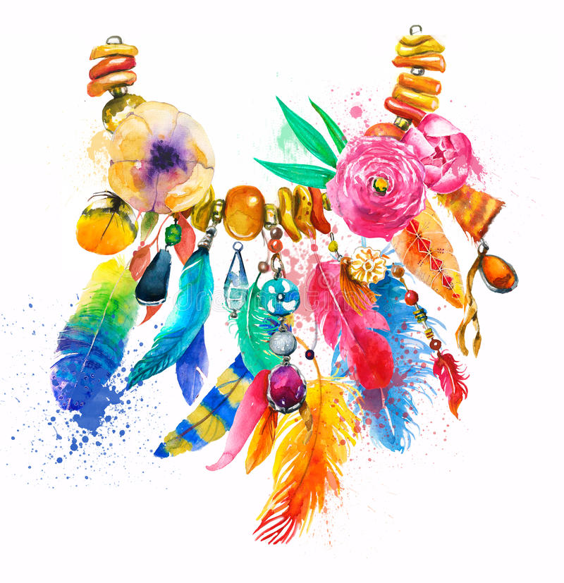 Watercolor illustration with necklace stock illustration