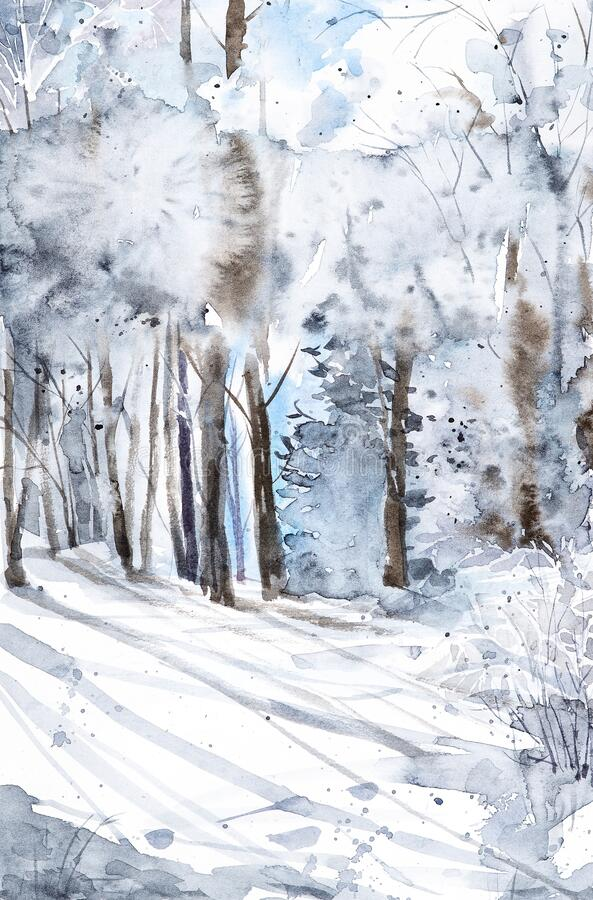 Free Watercolor Illustration Of A Beautiful Winter Russian Forest With Shadows From Tree Trunks In The Snow Stock Images - 170259684