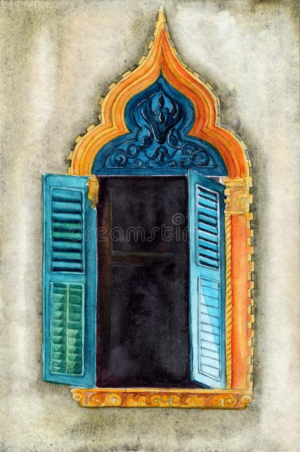 Free Watercolor Illustration Of A Vintage Ornate Window Stock Images - 202364444