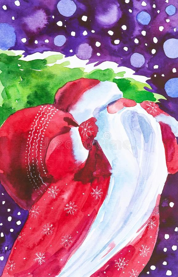 Free Watercolor Illustration Of Santa Claus With A Bag Of Gifts And A Christmas Tree On The Background Of The Night Sky With Falling Royalty Free Stock Photos - 161317148