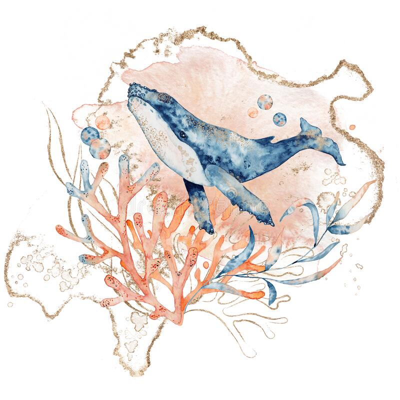 Free Watercolor Illustration Of Whale In Blue Color With Floral Composition Isolated On White Background Royalty Free Stock Images - 184069979