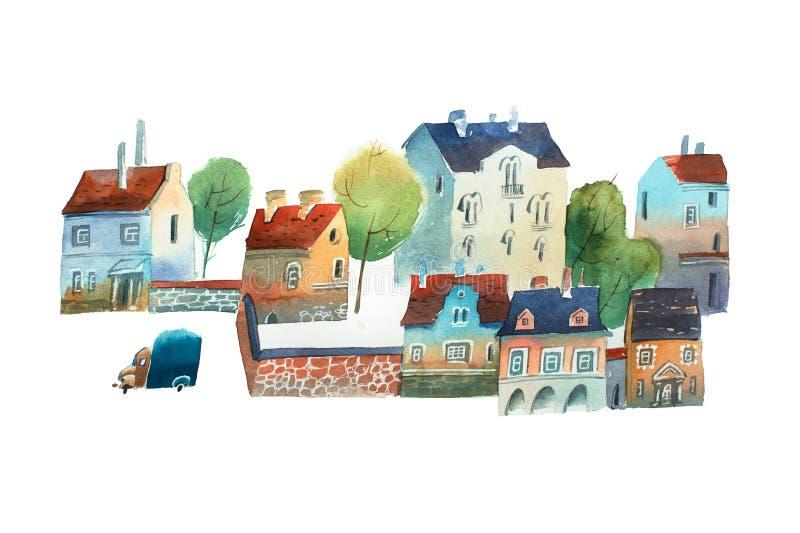 Watercolor illustration of old city center Scandinavia in summer stock illustration
