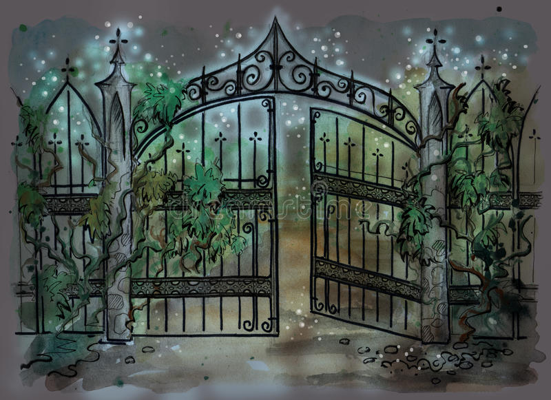 Watercolor illustration of old gothic gate stock illustration