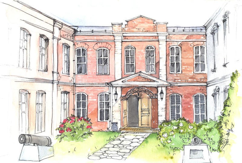 Watercolor illustration of an old mansion. Watercolor and pen drawing of an old mansion in the style of classicism vector illustration