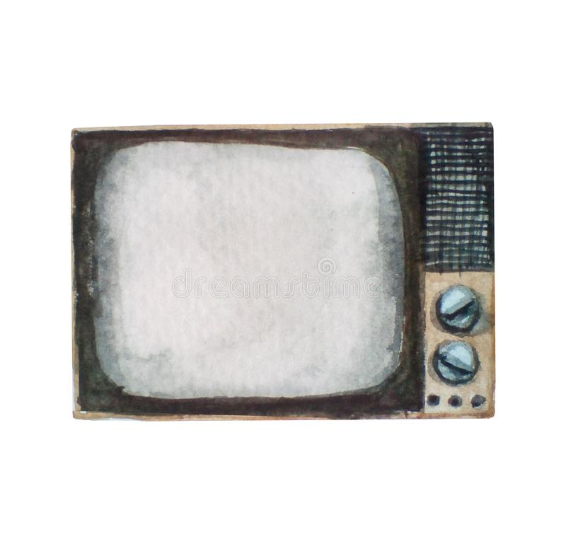 Watercolor illustration of old retro vintage tv set, isolated on white. Background stock images