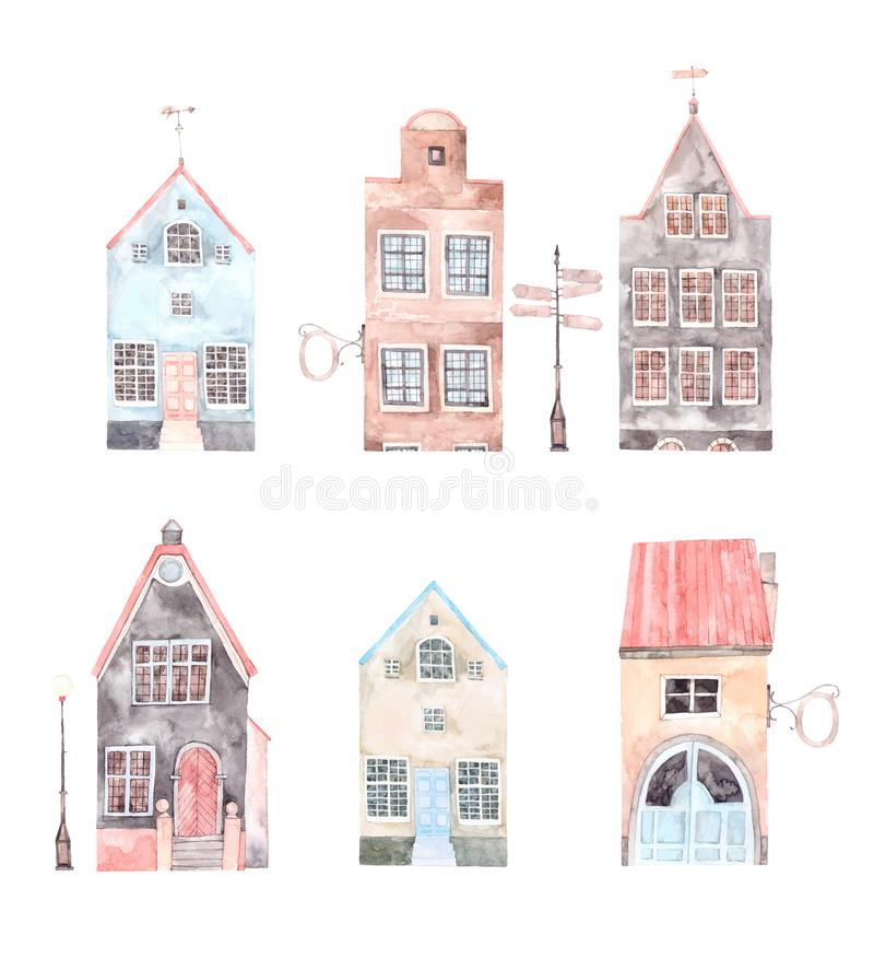 Watercolor illustration. Old town city. Cityscape - houses, bui. Watercolor illustration. Old town city. Cityscape Europe. Perfect for invitations, greeting royalty free illustration