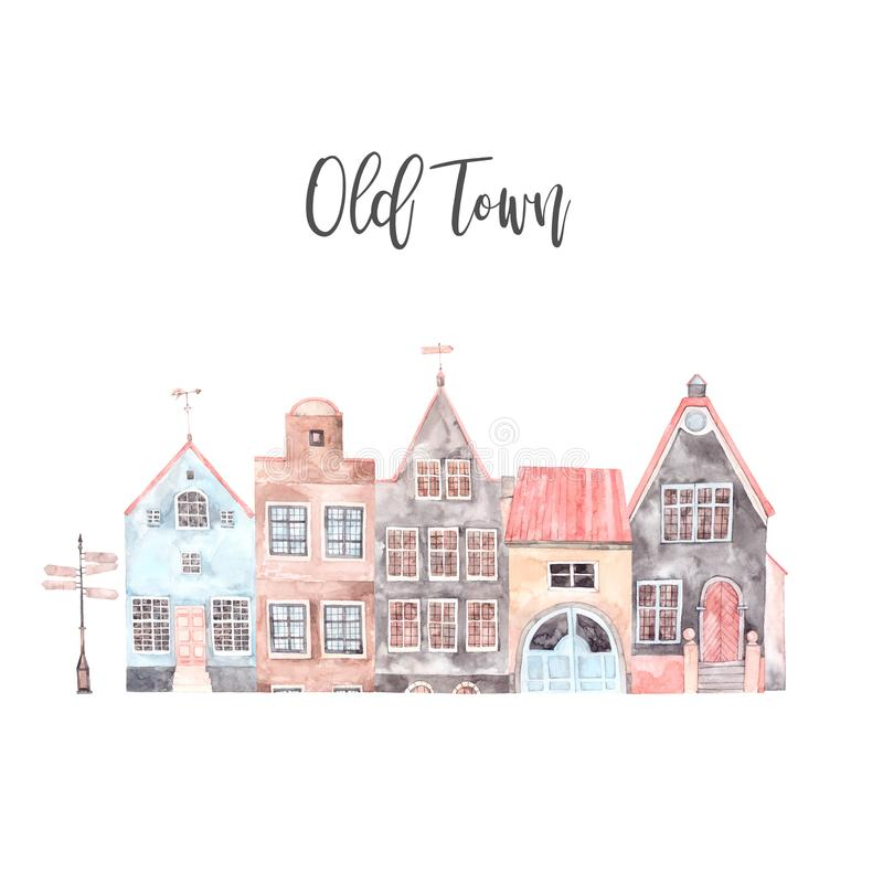 Watercolor illustration. Old town city. Cityscape royalty free illustration