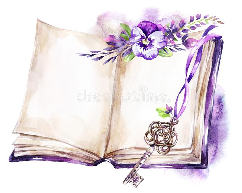 Watercolor illustration. Opened old book with a ribbon, pansy, leaves and key. Antique objects. Spring collection in. Violet shades. ClipArt, DIY, scrapbooking royalty free illustration
