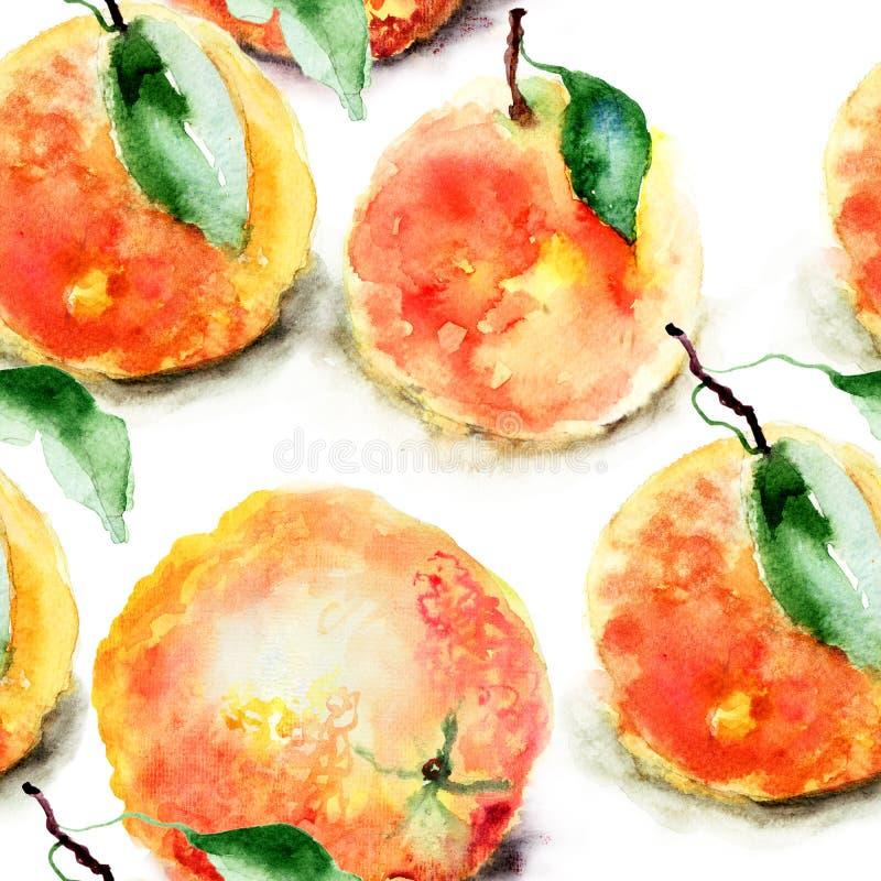 Watercolor illustration of Oranges. Seamless pattern stock illustration