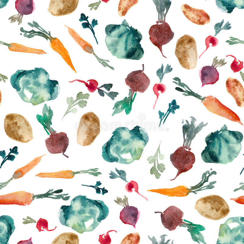 Watercolor illustration. Parsley, herb, beetroot, radish, cabbage, potatoes isolated on white bacgkound. Seamless pattern stock illustration