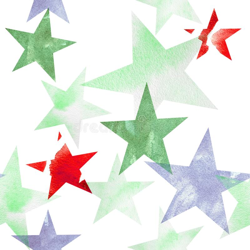 Watercolor illustration. Pattern of transparent stars of bright pink, blue, gray, brown hues stock illustration
