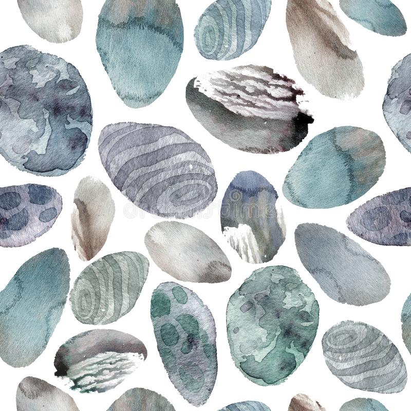 Watercolor illustration. Pattern of transparent stones of gentle gray and blue shades. stock illustration