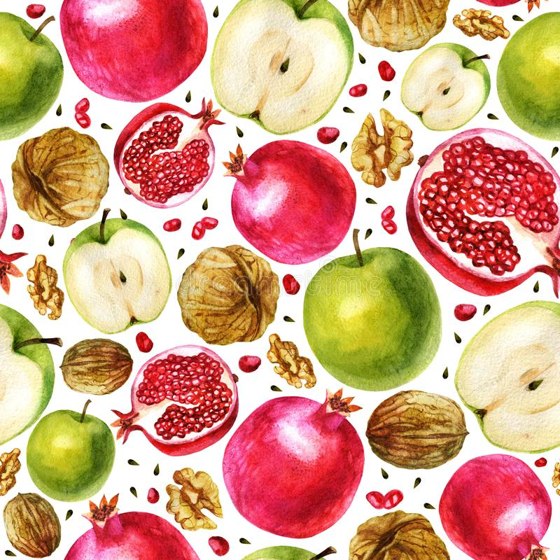 Watercolor illustration, pattern. Watercolor pomegranate, half a pomegranate, garnet berries, apple, half apple and walnut. stock illustration