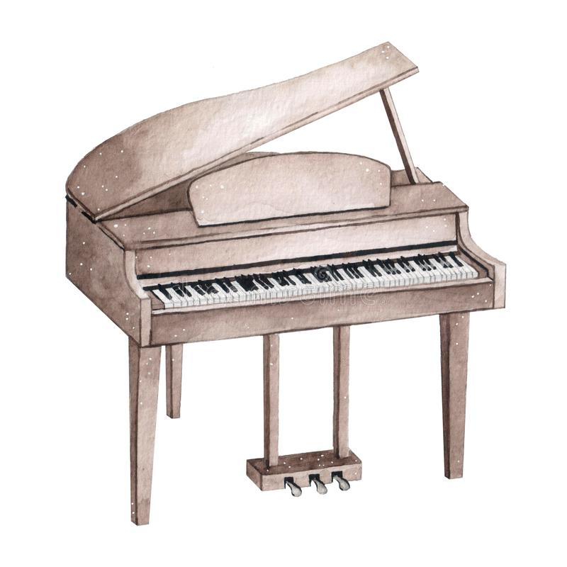 Watercolor illustration of piano isolated on white background. Musical instruments stock illustration