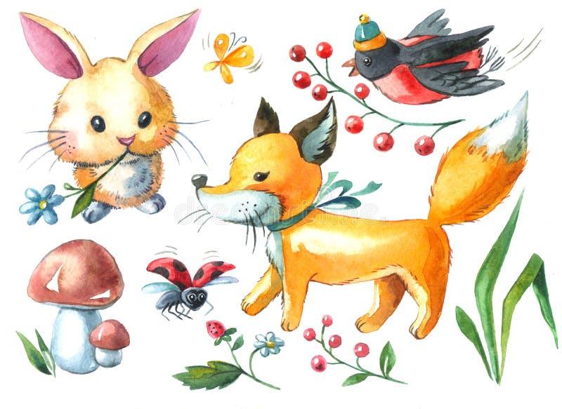 Watercolor illustration rabbit, fox, bullfinch, mushroom royalty free stock photography