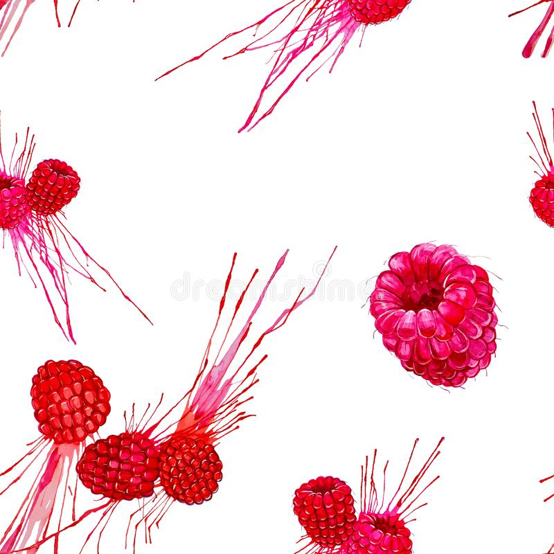 Watercolor illustration of raspberry in juice splash isolated on a white background. Seamless pattern stock illustration