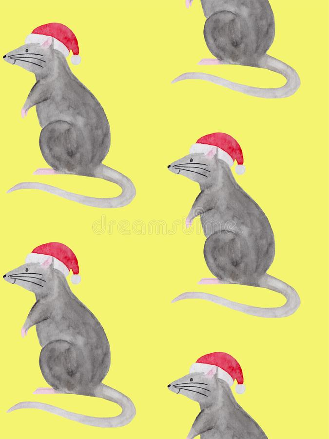 Watercolor illustration of rat wearing red christmas hat vector illustration