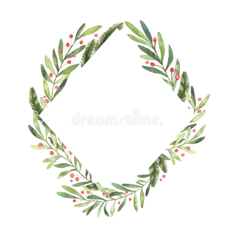 Watercolor illustration. Ready to use Christmas frame. Perfect f vector illustration