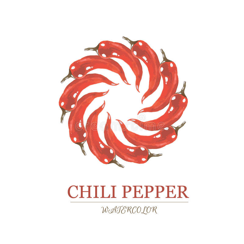 Watercolor Illustration Of Red Chili Pepper Stock Illustration ...