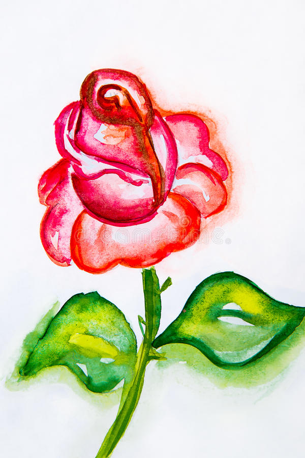 Watercolor illustration of a red rose with green leaves close up. On a white background stock illustration