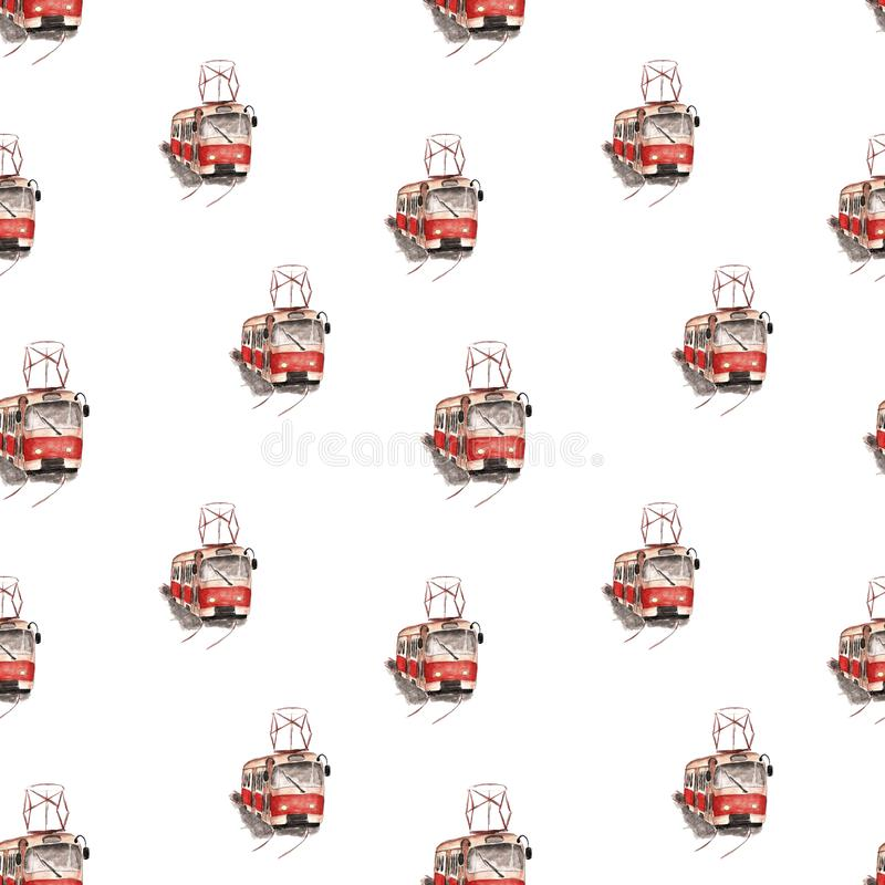 Watercolor illustration of a red tram pattern royalty free illustration