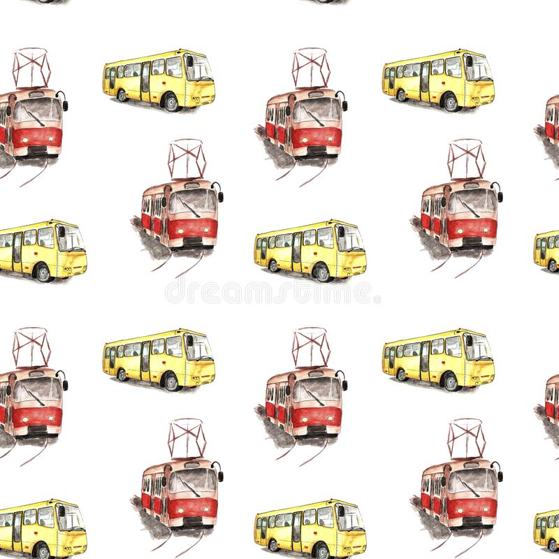 Watercolor illustration of a red tram and yellow bus pattern royalty free illustration