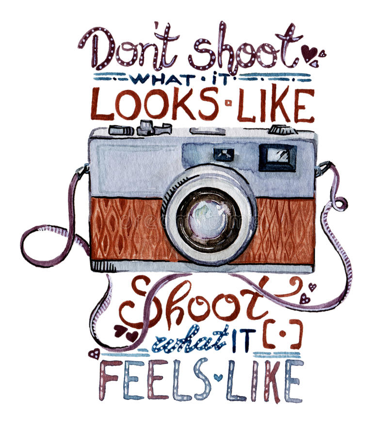 Watercolor illustration - Retro camera stock illustration