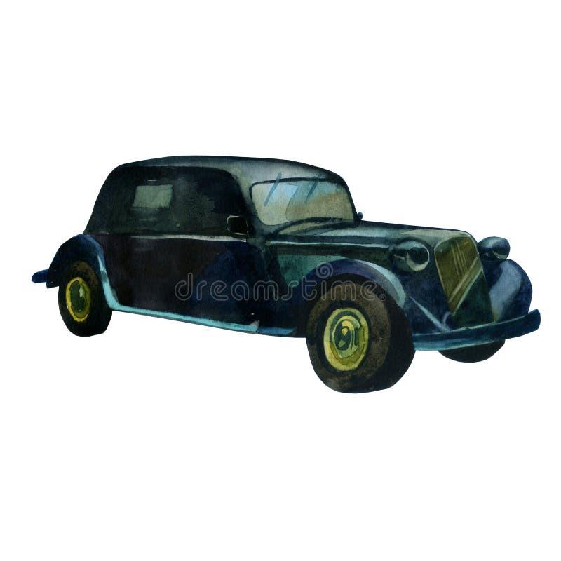 Watercolor illustration. Retro style car in black.  royalty free illustration