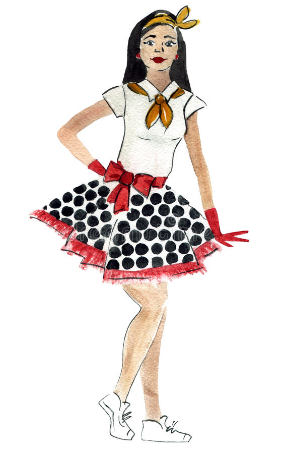Watercolor illustration of a retro stylish girl. Handwork watercolor illustration of retro stylish girl stock illustration
