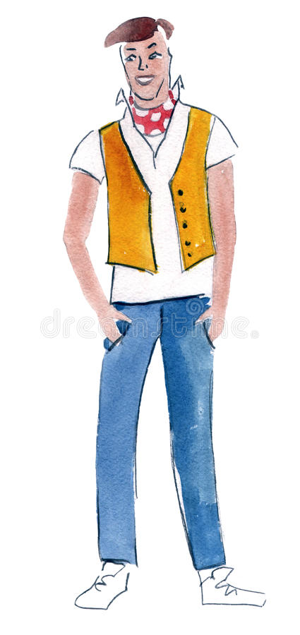 Watercolor illustration of a retro stylish man. Handwork watercolor illustration of retro stylish man royalty free illustration