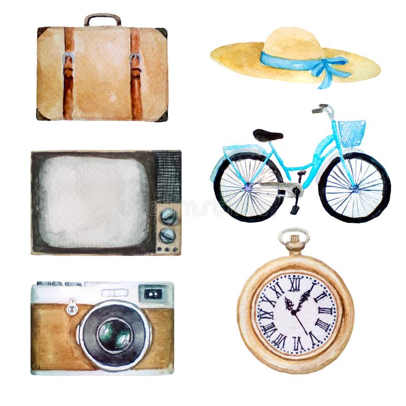 Watercolor illustration of retro vintage objects, old icons of hat, suitcase, tv, bicycle, photo camera, pocket clock, isolated. On white background stock image