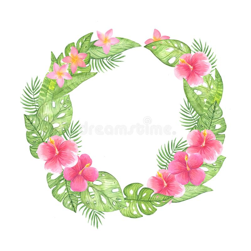 Watercolor illustration round frame wreath of green tropical leaves on a white background ilustracji