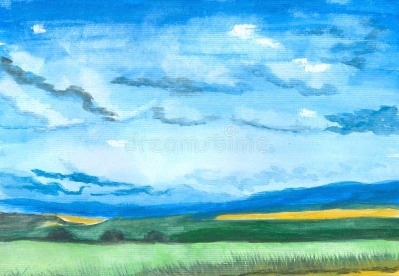 Watercolor illustration of rural landscape royalty free illustration