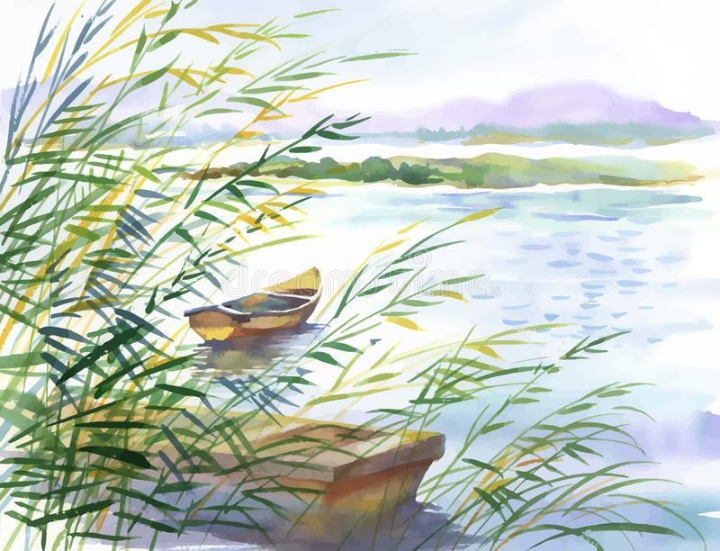 Watercolor illustration of rural landscape with boat. vector illustration