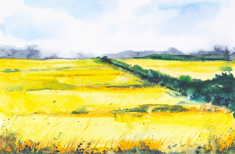 Watercolor illustration of a Russian field with a forest in the background.  royalty free illustration