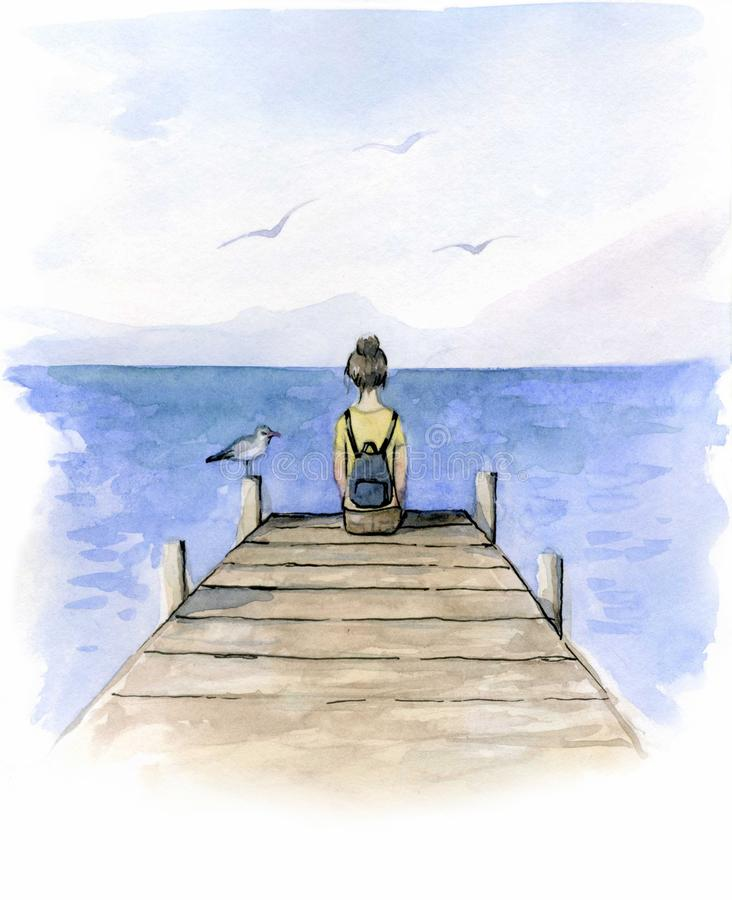 Girl sitting on the dock watercolor. Watercolor illustration with sad girl sitting on the dock and seagull royalty free illustration