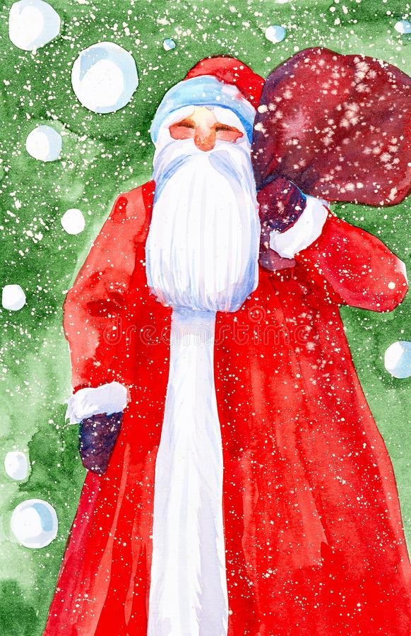 Watercolor illustration of Santa Claus with a bag of gifts on the background of a Christmas tree and falling snow stock image
