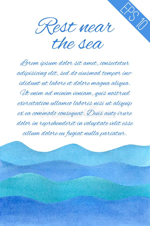 Watercolor illustration with sea and place for text stock illustration