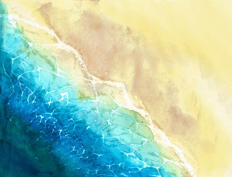 Watercolor illustration of sea surf line. royalty free stock photography