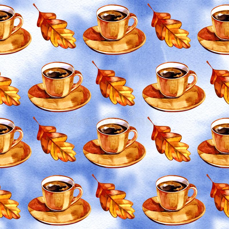 Watercolor illustration, seamless patten Autumn set of aromatic coffee and autumn leaves.  royalty free stock image