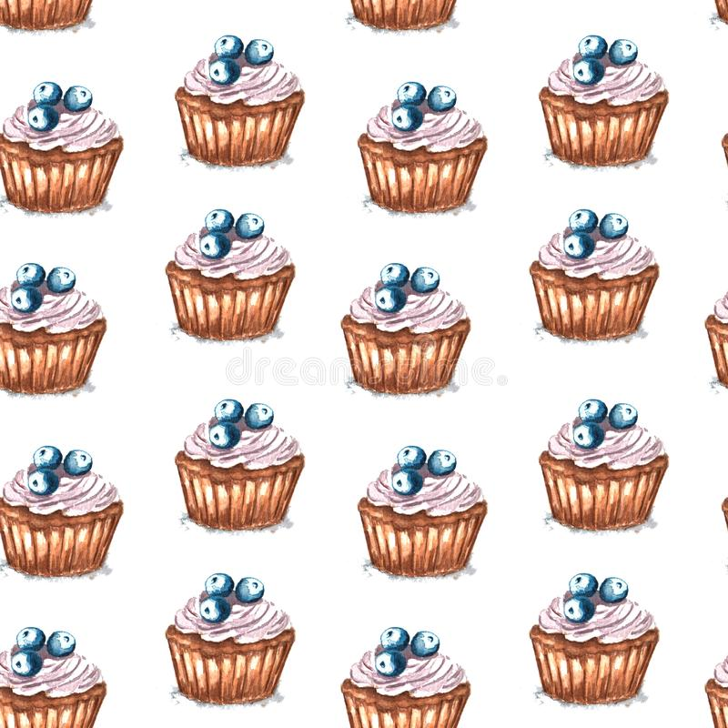 Watercolor illustration of seamless pattern cupcake with blueberry. On white background stock illustration