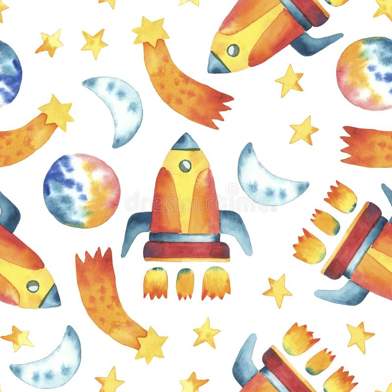 Seamless pattern of hand drawing yellow rocket, stars royalty free illustration