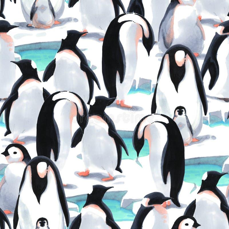 Watercolor seamless pattern witn penguin`s flock on the snow stock illustration