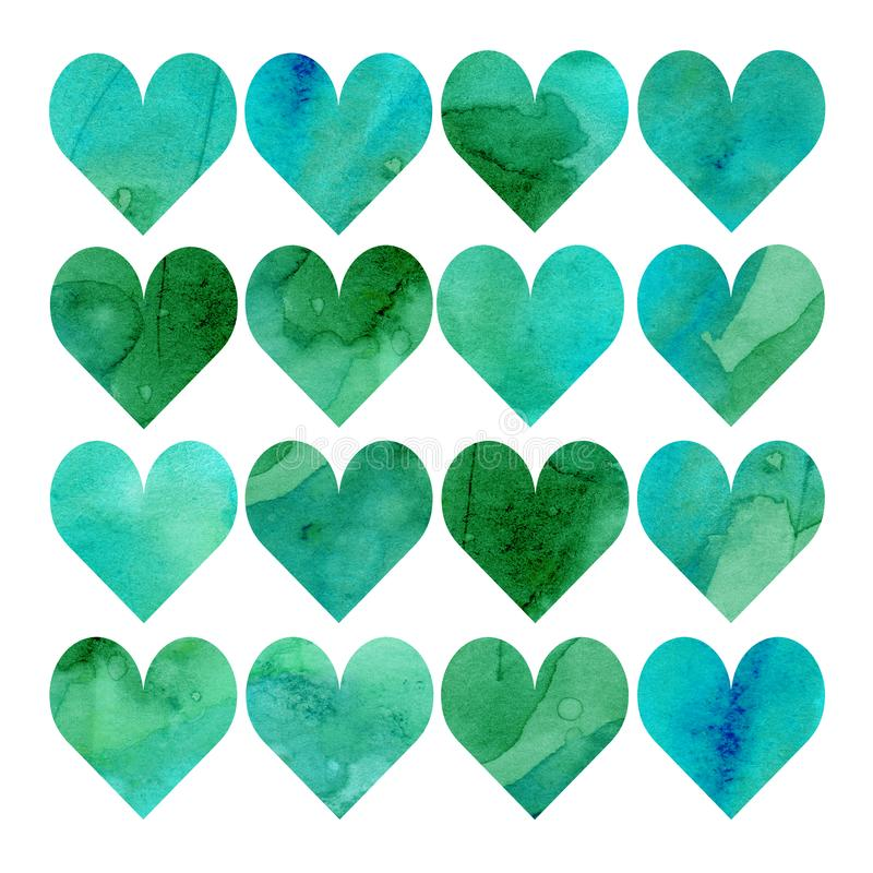 Watercolor illustration, set. Heart shaped watercolor texture. Shades of green, blue, mint and turquoise royalty free illustration