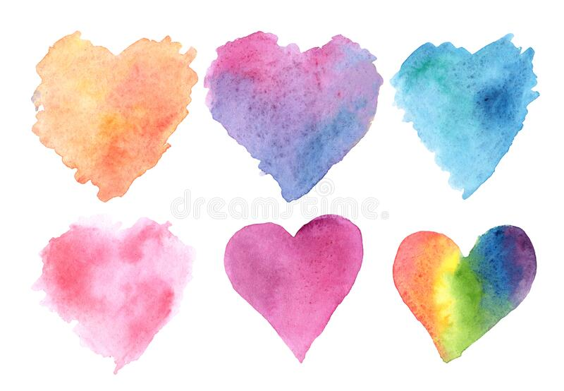 Watercolor illustration set of hearts orange blue pink purple rainbow on a white background stock illustration